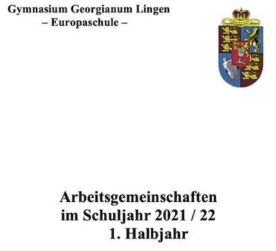 Arbeitsgemeinschaften am Gymnasium Georgianum Lingen 2021/22